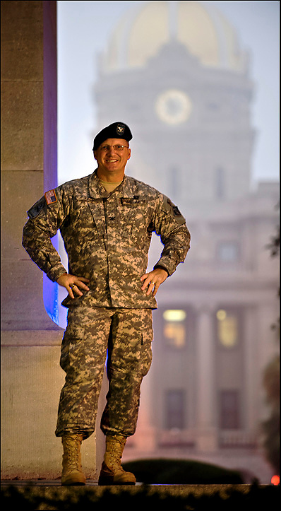 Col. Jeff Hall, District Commander of the Savannah District, U.S. Army Corps of Engineers in Savannah, Ga. Thursday Nov. 4, 2010 on Johnson Square in front of Savannah City Hall. (Photo by Stephen Morton)