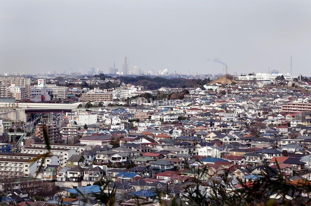 elevated view Japan dense housing environment looking from Kanazawabunko towards Yokohama