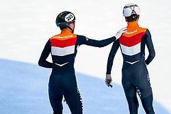Itzhak de Laat, Sven Roes in action on the 5000 meter relay during ISU World Cup Finals Shorttrack 2020 on February 15, 2020 in Optisport Sportboulevard Dordrecht.