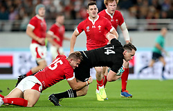New Zealand's Ben Smith scores his sides third try during the 2019 Rugby World Cup bronze final match at Tokyo Stadium.