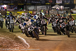 Hooligan Main Event at the AMA Flat track racing at the Sturgis Buffalo Chip during the Sturgis Black Hills Motorcycle Rally. Sturgis, SD, USA. Sunday, August 4, 2019. Photography ©2019 Michael Lichter.