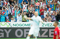 Supporters of Slovenia celebrate after Nejc Pecnik scored second goal for Slovenia during the EURO 2016 Qualifier Group E match between Slovenia and England at SRC Stozice on June 14, 2015 in Ljubljana, Slovenia. Photo by Vid Ponikvar / Sportida