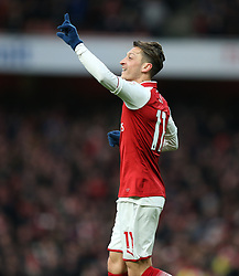 16 December 2017 London : Premier League Football : Arsenal v Newcastle United : Mesut Ozil of Arsenal celebrates after scoring the opening goal.<br />  (photo by Mark Leech)
