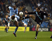 Picture: Henry Browne.<br />Date: 09/11/2003.<br />Manchester City v Leicester City  FA Barclaycard Premiership.<br />Paulo Wanchope of City clashes with Leicester's Ricardo Scimeca