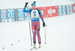 Olga Podchufarova (RUS) celebrates at finish line after placed third  during Women 12.5 km Mass Start at day 4 of IBU Biathlon World Cup 2015/16 Pokljuka, on December 20, 2015 in Rudno polje, Pokljuka, Slovenia. Photo by Vid Ponikvar / Sportida