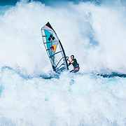 Levi Siver windsurfing at Ho'okipa on the north shore of Maui near Haiku, Hawaii.
