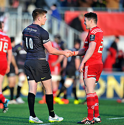 Owen Farrell of Saracens shakes hands with JJ Hanrahan of Munster after the match - Photo mandatory by-line: Patrick Khachfe/JMP - Mobile: 07966 386802 17/01/2015 - SPORT - RUGBY UNION - London - Allianz Park - Saracens v Munster - European Rugby Champions Cup