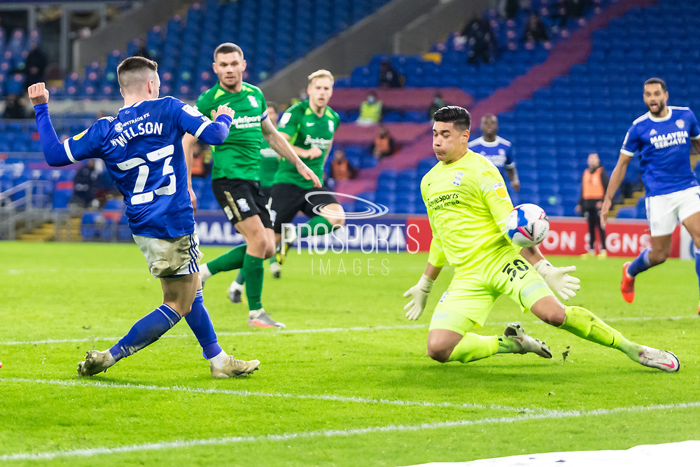 GOAL 2-2 Cardiff City's Harry Wilson (23) scores his side's second goal during the EFL Sky Bet Championship match between Cardiff City and Birmingham City at the Cardiff City Stadium, Cardiff, Wales on 16 December 2020.