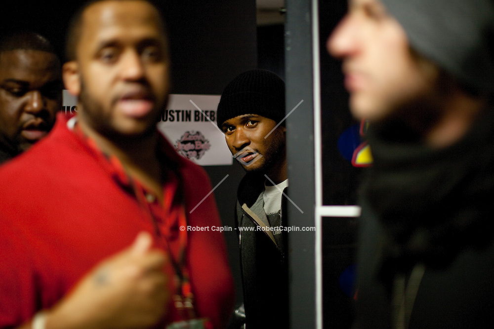 Usher backstage prior to performing at the 2009 Z100's Jingle Ball at Madison Square Garden in New York. ..(Photo by Robert Caplin).....