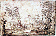 Giovanni Francesco Barbieri, called Il Guerincino (1591-1666) Italian Baroque painter.  Landscape with  wind-blown trees and family walking into the distance. Drawing in pen and brown ink and wash.