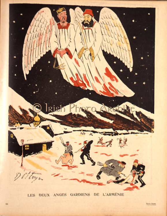 The two guardian angels of Armenia:  Peter I of Serbia and Abdul Hamid of Turkey look down on the massacre of Armenians.  Cartoon from 'L'Assiette au Buerre', Paris, 11 November 1905.