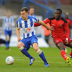 TELFORD COPYRIGHT MIKE SHERIDAN 12/1/2019 -Carl Magnay holds off Dan Udoh of AFC Telford during the Vanarama Conference North fixture between AFC Telford United and Hartlepool United at the Super Six Stadium.