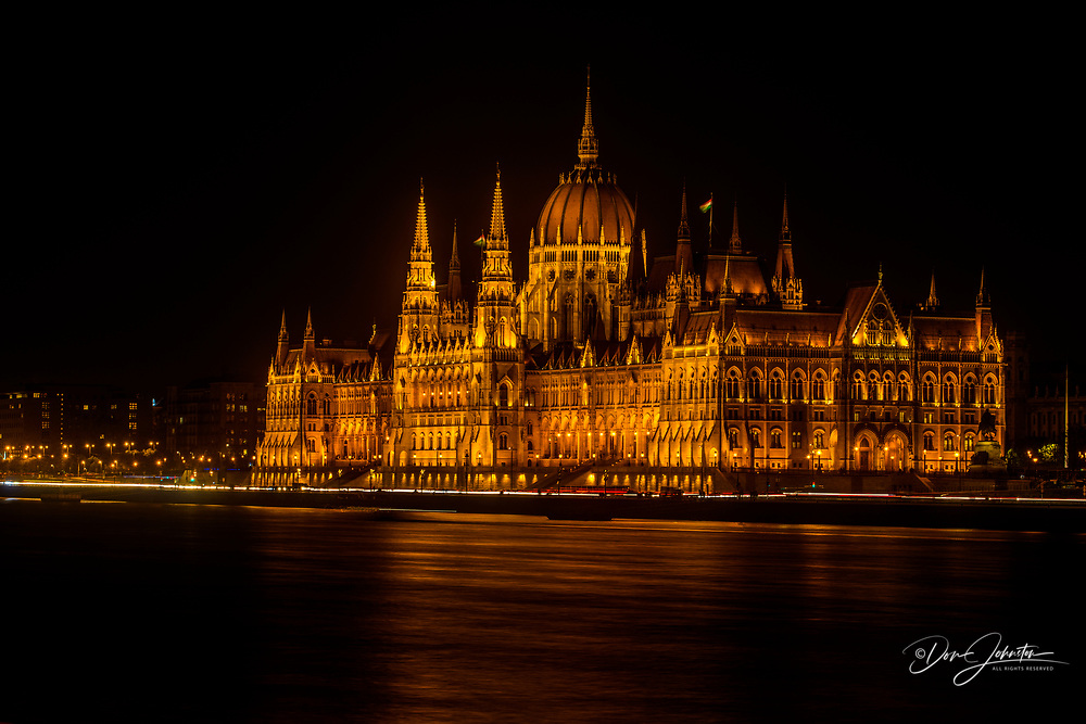 Hungarian Parliament buildings at night, Budapest, Central Hungary, Hungary