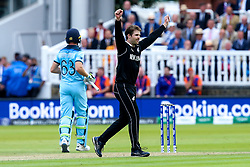 Lockie Ferguson of New Zealand celebrates taking the wicket of Jos Buttler of England - Mandatory by-line: Robbie Stephenson/JMP - 14/07/2019 - CRICKET - Lords - London, England - England v New Zealand - ICC Cricket World Cup 2019 - Final