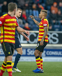 Falkirk's Scott Harrison and Partick Thistle's Jai Quitongo. Falkirk 1 v 1 Partick Thistle, Scottish Championship game played 17/11/2018 at The Falkirk Stadium.