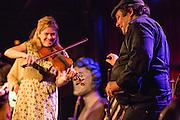 """The Whisky Rebellion's """"Shaky"""" Dave Pollack, right, with fiddler Kari Denis."""