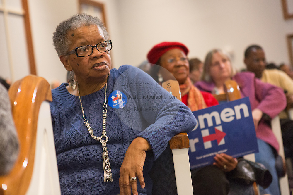 Supporters listen to the discussion during the Breaking Down Barriers Forum held by Democratic presidential candidate Hillary Rodham Clinton at Central Baptist Church February 23, 2016 in Columbia, South Carolina. The event was attended by mothers who lost their children to gun violence and police incidents.