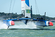 SailGP Team France practice off Cowes. Event 4 Season 1 SailGP event in Cowes, Isle of Wight, England, United Kingdom. 5 August 2019: Photo Chris Cameron for SailGP. Handout image supplied by SailGP