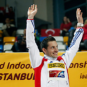 Renaud Lavillenie of France celebrates his gold medal during the IAAF World Indoor Championships at the Atakoy Athletics Arena, Istanbul, Turkey. Photo by TURKPIX