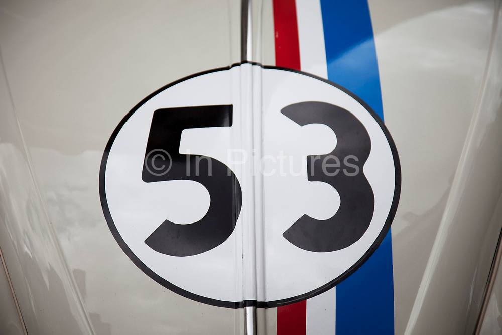 Detail of the famous car used in the hit American movies and tv show Herbie. This famous little Volswagen Beetle adorns the number 53