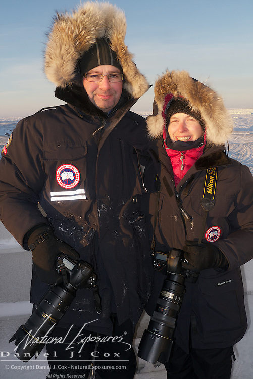David and Lisa Erdman on the back of a Tundra Buggy taking a break from photography at Cape Churchill, Hudson Bay, Manitoba.