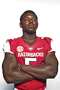 Aug 4, 2012; Fayetteville, AR, USA;  Arkansas Razorback linebacker Otha Peters (5) poses for a photo during media day at the Broyles Athletic Center.  Mandatory Credit: Beth Hall-US PRESSWIRE