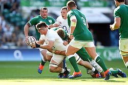 Tom Curry of England is tackled to ground - Mandatory byline: Patrick Khachfe/JMP - 07966 386802 - 24/08/2019 - RUGBY UNION - Twickenham Stadium - London, England - England v Ireland - Quilter International
