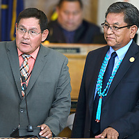 072015       Cayla Nimmo<br /> <br /> Speaker of the House, Lorenzo Bates addresses delegates during the Navajo Nation Council Session Monday.