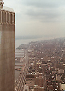 Retro America - View from south tower of the World Trade Center looking north. Circa 1983.