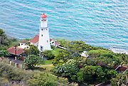 The lighthouse seen from the top of Diamond Head Crater.