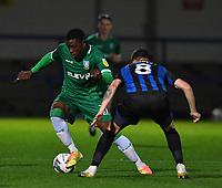 Sheffield Wednesday's Fisayo Dele-Bashiru battles with  Rochdale's Aaron Morley<br /> <br /> Photographer Dave Howarth/CameraSport<br /> <br /> Carabao Cup Second Round Northern Section - Rochdale v Sheffield Wednesday - Tuesday 15th September 2020 - Spotland Stadium - Rochdale<br />  <br /> World Copyright © 2020 CameraSport. All rights reserved. 43 Linden Ave. Countesthorpe. Leicester. England. LE8 5PG - Tel: +44 (0) 116 277 4147 - admin@camerasport.com - www.camerasport.com