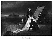 Consigning bodies of the plague to a communal grave in the plague pit - Plague of London, 1665. Illustration by John Franklin (fl 1800-61) for W Harrison Ainsworth 'Old Saint Pauls', London, 1855, first published 1841