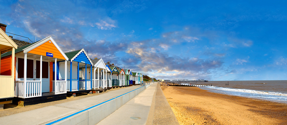 Traditional seaside colorful beach huts on the beachof Southwold, Suffolk, England .<br /> <br /> Visit our ENGLAND PHOTO COLLECTIONS for more photos to download or buy as wall art prints https://funkystock.photoshelter.com/gallery-collection/Pictures-Images-of-England-Photos-of-English-Historic-Landmark-Sites/C0000SnAAiGINuEQ