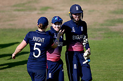 Heather Knight of England Women celebrates with the two centurions Tammy Beaumont and Sarah Taylor after their win over South Africa Women - Mandatory by-line: Robbie Stephenson/JMP - 05/07/2017 - CRICKET - County Ground - Bristol, United Kingdom - England Women v South Africa Women - ICC Women's World Cup Group Stage