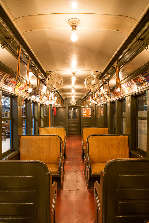 """A 1908 BMT Q car, rebuilt in 1938 to service the 1939 """"World of Tomorrow"""" World's Fair, and repainted in the Fair colors of blue and orange. This series of cars was the last of the wooden-bodied subway cars in service, finally retired in 1969."""