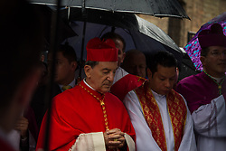 April 14, 2017 - Bogota, Colombia - Pilgrimages and processions are still an essential part of Holy Week in Bogota, Colombia, on 14 April, 2017. Commercial exploits of the Catholic holiday have yet to manifest here – the Easter egg and Easter bunny are unquestionably overseas customs. In Colombia, as in most countries in Latin-America, Catholicism is by far the prevailing creed among the local population. A lot of people will be attending religious services during the holy days. Some communities would have invested a lot time and effort preparing for the special celebrations of the Holy Week, and in particular for the processions taking place on Good Friday and Easter Sunday. Many churches in La Candelaria have carried out these processions for centuries and they are quite interesting to watch, even if you are not catholic. One of the most famous Good Friday celebrations in Bogota takes place in the parish of 'Nuetra Señora de Egipto´ (a few blocks east from La Candelaria) where local parishioners give life to the characters of the Gospel and enact the last hours of Jesus before the crucifixion. (Credit Image: © Juan Torres/NurPhoto via ZUMA Press)