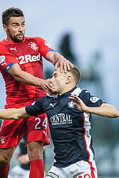 Rangers Derek McGregor over Falkirk's Alex Cooper. Falkirk 0 v 2 Rangers, Scottish Championship game played 15/8/2014 at The Falkirk Stadium.