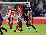 Lys Mousset of Sheffield Utd tacked by Philip Billing of Bournemouth during the Premier League match at Bramall Lane, Sheffield. Picture date: 9th February 2020. Picture credit should read: Simon Bellis/Sportimage