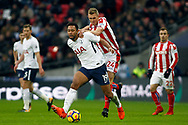 Mousa Dembele of Tottenham Hotspur (L) holds off Darren Fletcher of Stoke City (R). Premier league match, Tottenham Hotspur v Stoke City at Wembley Stadium in London on Saturday 9th December 2017.<br /> pic by Steffan Bowen, Andrew Orchard sports photography.