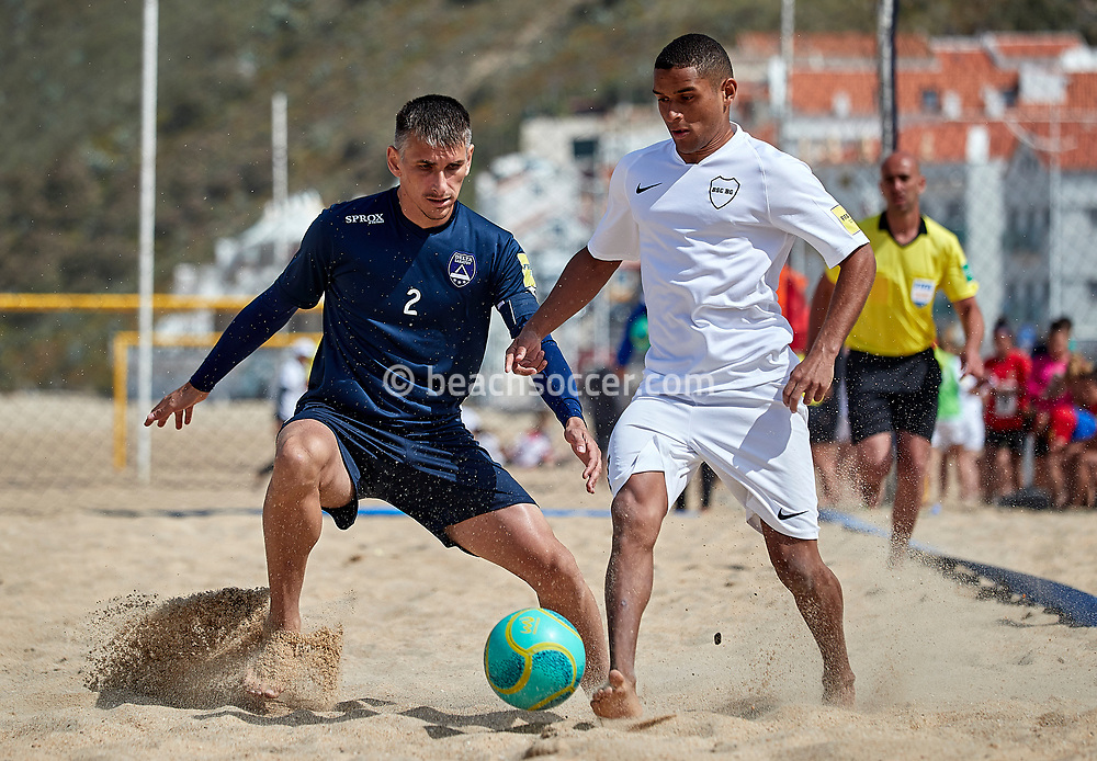 NAZARE, PORTUGAL - JUNE 5: Alejandro Sidney Maia Sales of BSC Boca Gdansk and Andrei Pankratov of Delta during the Euro Winners Cup Nazaré 2019 at Nazaré Beach on June 5, 2019 in Nazaré, Portugal. (Photo by Jose M. Alvarez)