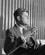 Y-600422E.  Senator John Kennedy arrival at Portland Airport. Press conference. April 22, 1960