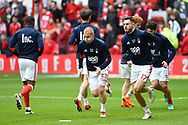 Forest players warming up during the EFL Sky Bet Championship match between Nottingham Forest and Derby County at the City Ground, Nottingham, England on 11 March 2018. Picture by Jon Hobley.