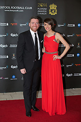 LIVERPOOL, ENGLAND - Tuesday, May 6, 2014: LFCTV presenters Peter McDowell and Claire Rourke on the red carpet for the Liverpool FC Players' Awards Dinner 2014 at the Liverpool Arena. (Pic by David Rawcliffe/Propaganda)