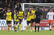 Burton Albion forward Lucas Akins (10) heads a goal and celebrates 1-1 during the EFL Sky Bet League 1 match between Burton Albion and Luton Town at the Pirelli Stadium, Burton upon Trent, England on 27 April 2019.