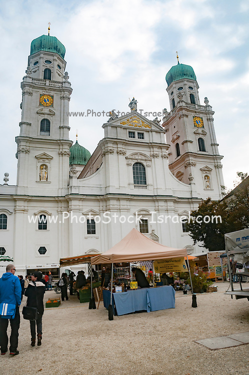 St. Stephan's Cathedral, Passau, Bavaria, Germany. with dramatic sky