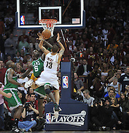 Boston's Kevin Garnett tries to block a shot by Delonte West..The Cleveland Cavaliers defeated the Boston Celtics 108-84 in Game 3 of the Eastern Conference Semi-Finals at Quicken Loans Arena in Cleveland.