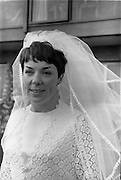 "16/09/1967<br /> 09/16/1967<br /> 16 September 1967<br /> Wedding of Mr Francis W. Moloney, 28 The Stiles Road, Clontarf and Ms Antoinette O'Carroll, ""Melrose"", Leinster Road, Rathmines at Our Lady of Refuge Church, Rathmines, with reception in Colamore Hotel, Coliemore Road, Dalkey. Image shows the Bride outside the hotel."