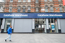 © Licensed to London News Pictures. 17/03/2020. London, UK. Carphone Warehouse has announced it is to close all to its 531 standalone stores as the Coronavirus outbreak spreads. The closure will result in 2,900 job losses. Photo credit: Ray Tang/LNP