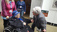 94 year old Norma Merrill visits the Womens Memorial for the first time on October 27, 2018 with Honor Flight Maine. Greeted here by Marilla Cushman, Director of PR and Development.