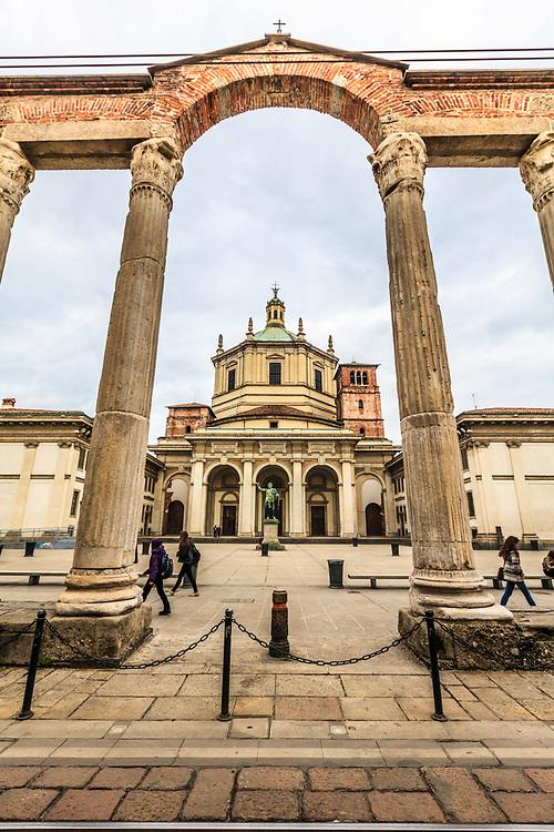 "Basilica di San Lorenzo in Milan, Italy. Throughout the medieval period the ""Basilica di San Lorenzo"" was a symbol that represented the most precious legacy of the Roman Empire in Milan."